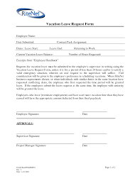 Sample Vacation Request Form Employee Vacation Request Formplate Free Holiday Form