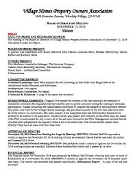 Draft Meeting Minutes December 9 2018 Village Homes