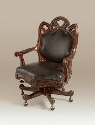 goth office chair hand carved umber finished gany gothic revival desk chair black leather