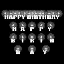塗り絵に最適な白黒でかわいい誕生日おめでとうハッピーバースデー文字