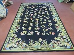 5 x 8 abstract hooked hand tufted wool rug fl flowers nice black