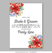 Sample Of Christmas Party Invitation Red Poinsettia Christmas Party Invitation Sample Stock