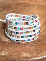 multi color crystals on white leather 5 wrap bracelet by tammy lyn appenzellar