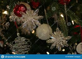 Lighted Christmas Ornaments Ball Sparkling Crystal Snowflake Ornaments Stock Photo Image Of