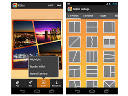 screenshots of kd collage app on an android