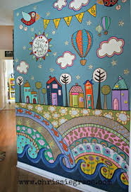 something like this but with loopy trees and stand up flowers, birds,  owls.painted wall mural using acrylic craft paints:)