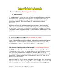 Short Term Professional Goals Professional Reflection Development Plan