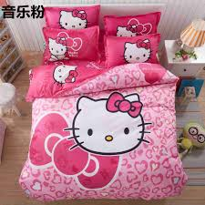 home textile hello kitty bedding set cartoon cotton bed set for kids 4pcs include duvet cover
