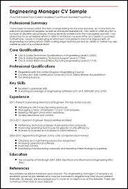 Cv Samples For Engineering Students Engineering Manager Cv Sample Myperfectcv