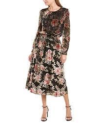 Vince Camuto Womens Long Sleeve Floral Velvet Burnout Dress