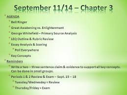 chapter agenda bell ringer leq prompt thesis writing  agenda bell ringer great awakening vs