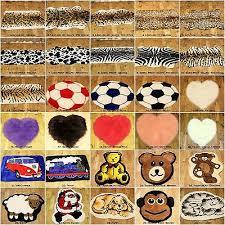 small faux fur sheep skin animal print wildlife kids football heart rug mat 70cm