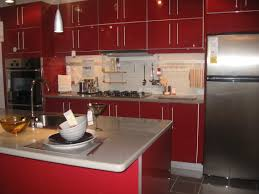 Red Floor Tiles Kitchen Red Kitchen Cabinets On Modern Design Traba Homes