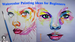 watercolor painting ideas for beginners abstract face drawing