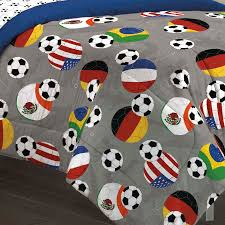 usa world soccer bedding twin full comforter set bed in a bag gray blue fifa flags