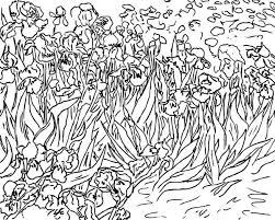Small Picture Irises by Vincent van Gogh in Famous Paintings Coloring Page