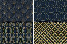 Blue And Gold Design 8 Seamless Art Deco Patterns Gold Navy Blue Set 1