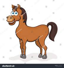 horse cartoon drawing vector ilration funny cute painted brown horse with blue eyes isolated