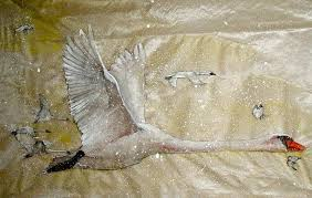 swans fly erflies flutter painting by debbi saccomanno chan