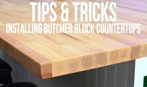 homemade butcher block countertop with hole cut