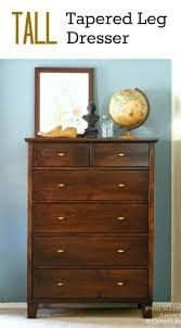 Brown Wood Tall Dresser With 6 Drawer And Brass Handle For Attractive  Bedroom Decoration