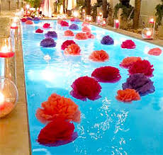 pool party supplies. Wonderful Party Large Floating Flowers Decorating A Pool With Candles Surrounding On Pool Party Supplies E