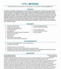Early Childhood Education Resume Fascinating Early Childhood Teacher Resume Sample Resumes Misc LiveCareer