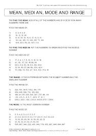 Mean Median Mode Range Examples Printable Worksheets Grade Math 4th