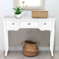 details about white 3 drawer console table wood storage bedroom dressing desk hallway kitchen