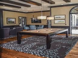 this contemporary billiards room with this modern brown and blue geometric rug portrays a cityscape is a complete custom rug it is created in the exact