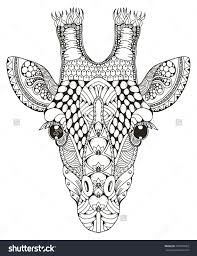 Giraffe Head Zentangle Stylized Vector Illustration