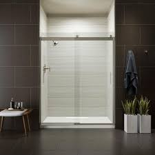 kohler levity 59 in x 74 in semi frameless sliding shower door in nickel with handle
