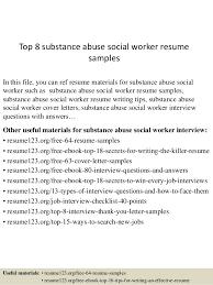 top 8 substance abuse social worker resume samples sample resume for process worker