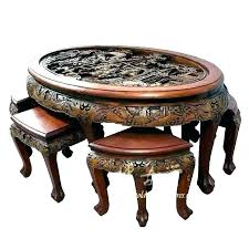 stools oriental coffee table with stools carved round 4