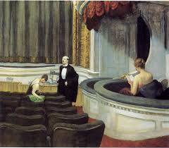 this painting is by edward hopper painted in 1927 it was once common when going to the cinema that the screen would be concealed behind a curtain