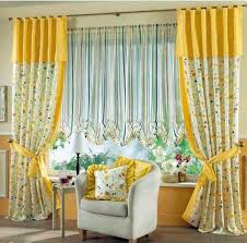 Yellow White Floral Curtains Combined With Stripped Blind For   Curtain  Ideas For Bedrooms Large Windows
