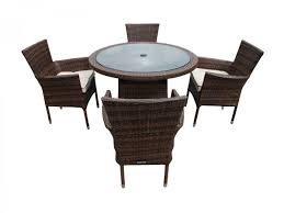 Small Round Rattan Table 4 Rattan Garden Chairs And Small Round Table Set In Chocolate And