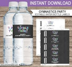 waterbottle labels gymnastics party water bottle labels editable template
