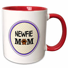 3drose newfie dog mom newfoundland doggie mama by breed paw print mum love doggy lover pet owner circle two tone red mug 11 ounce walmart