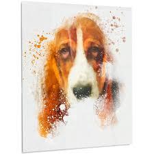 sober brown dog portrait painting print on metal