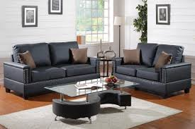 Living Room Black Leather Sofa Poundex Arri F7873 Black Leather Sofa And Loveseat Set Steal A