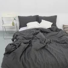 charcoal dark grey stone washed linen duvet cover set