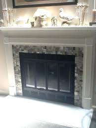fireplace glass tiles white tile surround remodel subway