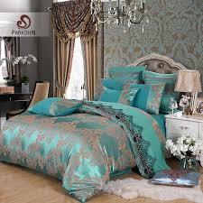 parkshin tibutle silk bedding set luxury tencel silk duvet cover set blue bed linen bedclothes jacquard queen king duvets bedding comforter set