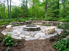How to Build a Stone Fire Pit Ring Flag stone Diy patio and Patios