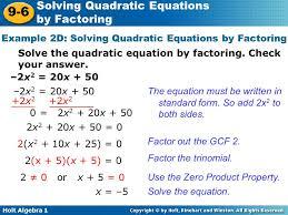 holt algebra solving quadratic equations by factoring warm up find