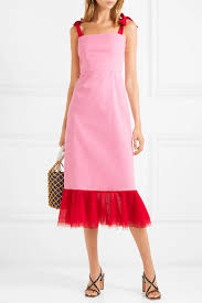 Staud Langdon Tulle Trimmed Stretch Cotton Poplin Dress