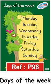 Days Of The Week Chart For Toddlers Classroom Storage Educational Posters Wall Charts Days