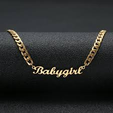 whole lovely gift gold color babygirl name necklace stainless steel nameplate choker handwriting signature necklace for girls beaded necklaces heart