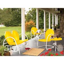 retro metal patio chairs colored yellow over patio floor